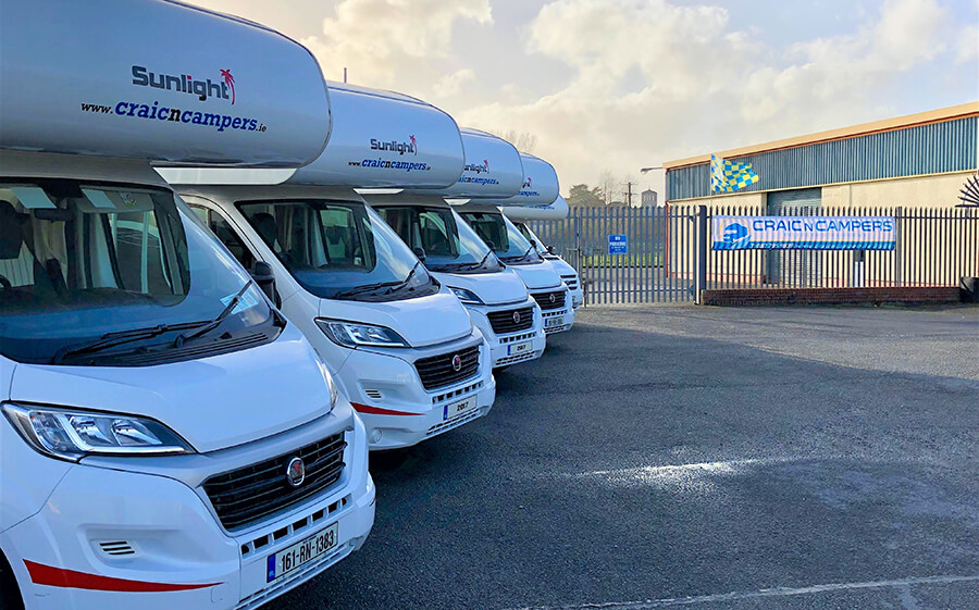 Craicncampers fleet of campervans at their depot in Roscommon